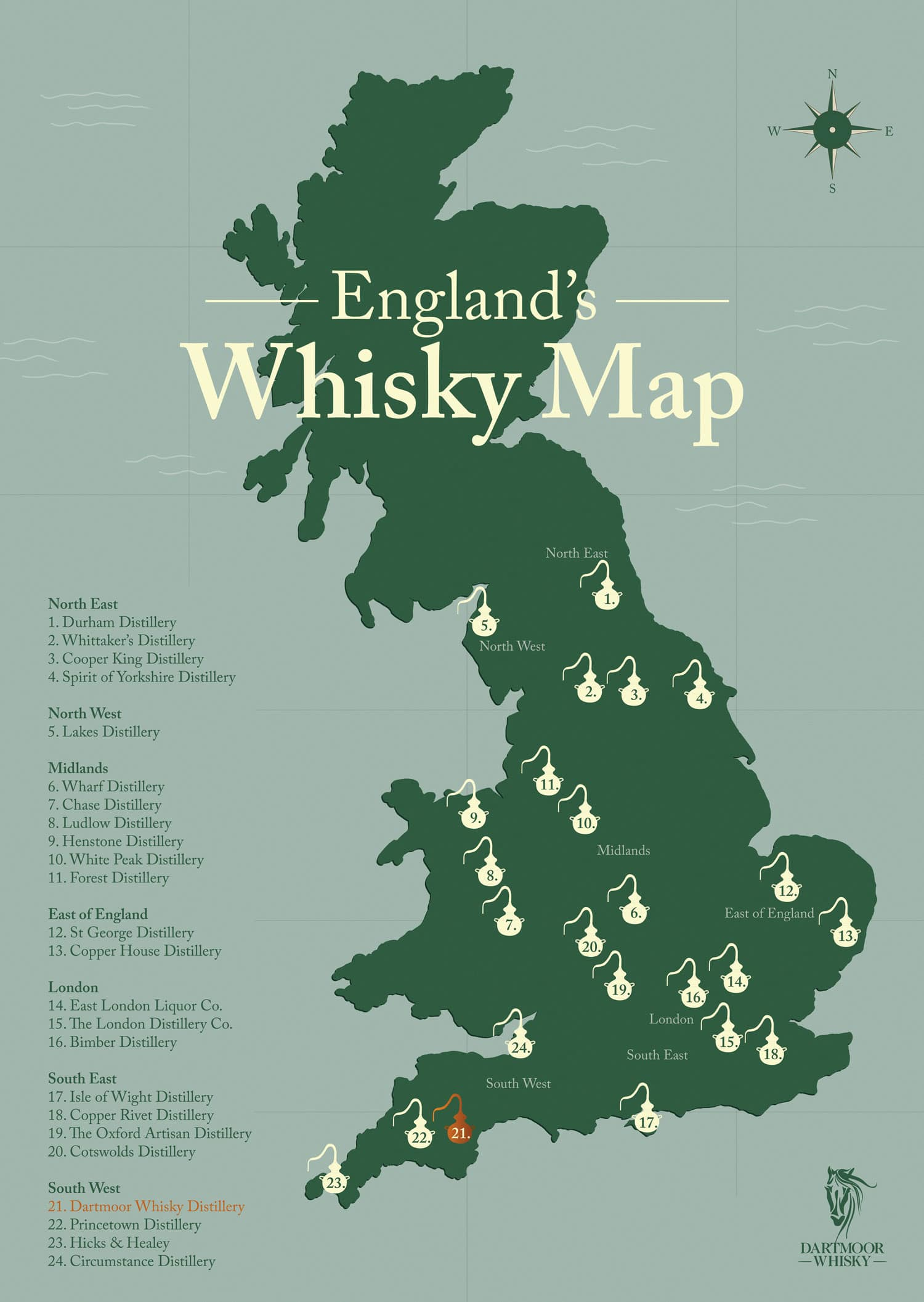English Whisky Distillery Map