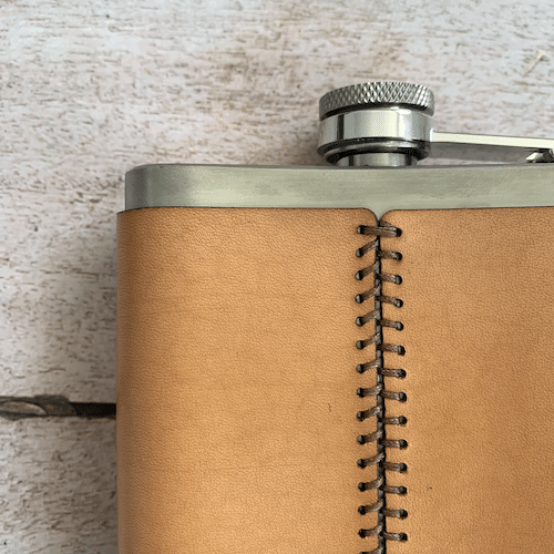 Dartmoor Whisky Leather Hip Flask Hand Stitched