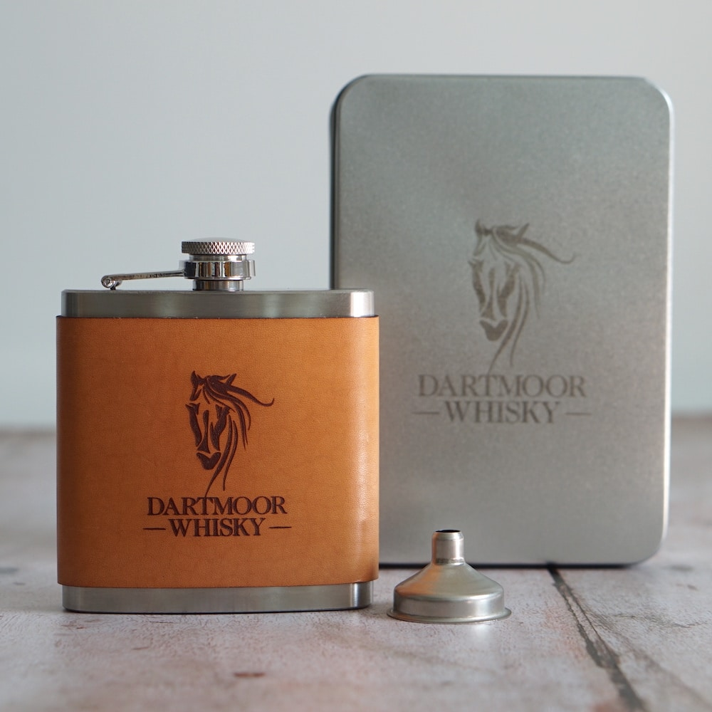 Dartmoor Whisky Leather Hip Flask with box
